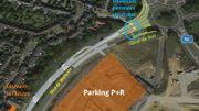 Le plan de la sortie du parking RER vers le centre de LLN