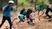 Une cascade à vélo tout-terrain plutôt gênante qui laissera des traces