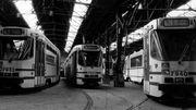 Un dépôt de trams en 1986, ce type de motrice est encore en service en 2019