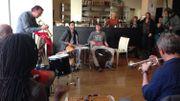 Jean-Jacques Renaut, au bugle, entouré des autres musiciens