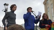 Le chef indigène Raoni s'exprime face aux jeunes lors de la marche pour le climat ce vendredi