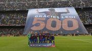 Le Camp Nou honore Messi après son 500e but