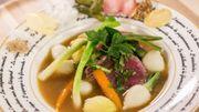 Bison à la ficelle et jeunes légumes