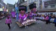 Le char qui a fait polémique en caricaturant des juifs lors du carnaval d'Alost 2019.