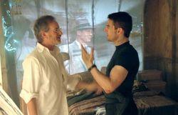 Lors du tournage avec Steven Spielberg