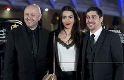 """Le réalisateur belge Stephan Streker et le casting du film """"Noces"""", Lina El Arabi et Sebastien Houbani."""
