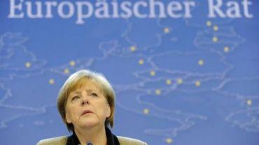 Angela Merkel en conférence de presse au siège de l'UE à Bruxelles, le 14 décembre 2012