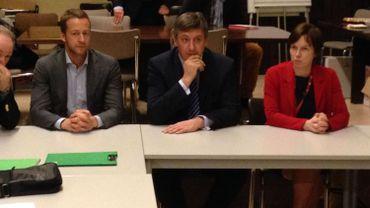 Le ministre de l'intérieur, Jan Jambon, lors de son entrevue avec les syndicats de la police fédérale de Liège