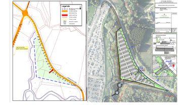 Plan de la situation existante (à gauche) et plan terrier et profil type du parking et du trottoir (à droite) extraits du dossier consultable à l'administration communale de Stavelot