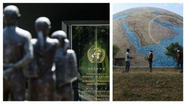 Siège de l'OMS à Genève, ce 24 avril, et scientifiques en Inde, le 21 avril