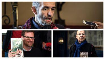 En haut: Philippe Lançon. En bas, à gauche : Nicolas Mathieu. En bas, à droite, Pierre Guyotat.