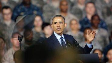 Barack Obama lors d'un discours aux troupes américaines le 25 avril 2014 à Séoul