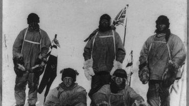 Le capitaine Robert Scott et son équipe au pôle Sud en 1912