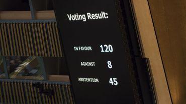 Résultat du vote de l'Assemblée Générale de l'ONU contre Israël.