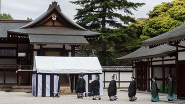 Rituel de divination au Palais impérial à Tokyo, sur une photo fournie le 13 mai 2019 par la Maison impériale
