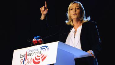 La présidente du Front National Marine Le Pen, lors d'un discours le 17 mai 2014 à Lens
