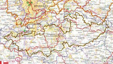 En foncé, le tracé de cette randonnée qui fait le tour du Brabant wallon.
