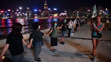 Chaîne humaine sur le territoire de la ville semi-autonome de Hong Kong