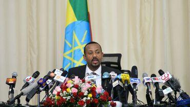 Le Premier ministre éthiopien Abiy Ahmed, pendant une conférence de presse le 25 août 2018 à Addis Abeba