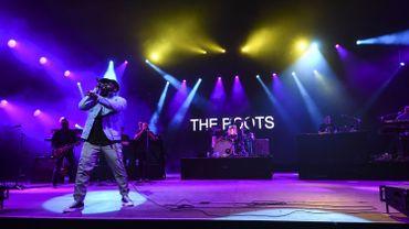 Le chanteur du groupe The Roots, Tariq Luqmaan Trotter, alias Black Thought, sur la scène de la 31ème édition des Eurockéennes de Belfort, le 7 juillet 2019.