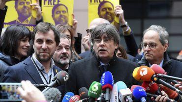 Carles Puigdemont au parlement européen de Strasbourg, ce 13 janvier