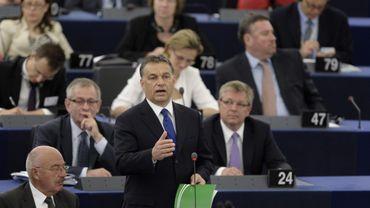 Le Premier ministre hongrois Viktor Orban s'exprimant devant le Parlement européen