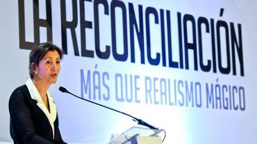 Ingrid Betancourt, ex-otage des Farc, lors d'un forum sur la réconciliation, le 5 mai 2016 à Bogota, en Colombie