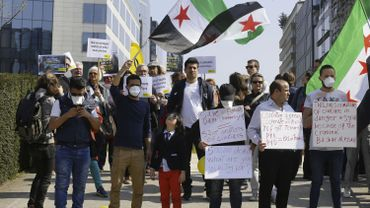 Manifestation devant les institutions européennes pour un cessez-le-feu en Syrie