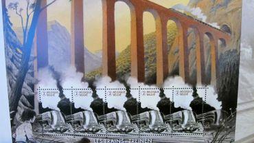La locomotive La Douce dessinée par François Schuiten sur le premier timbre belge à réalité augmentée.