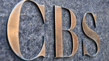 Le logo de CBS au siège de la télévision américaine, à New York