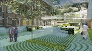 Sainte-Croix: une cour verdurisée, vers les coteaux de la citadelle
