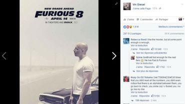 """""""De nouvelles routes sont à venir"""" (""""New Roads Ahead""""), indique l'affiche, sur laquelle Vin Diesel pose pensif et de profil, le regard au loin"""