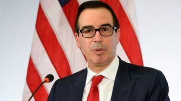 Le nouveau secrétaire d'Etat américain au Trésor, Steven Mnuchin, le 18 mars 2017 lors d'une conférence de presse à Baden Baden où se tient une réunion des ministres des Finances du G20