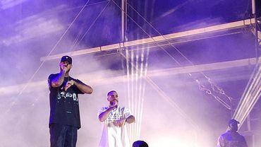 Booba accompagné du rappeur Médine lors de son show au BSF place des Palais