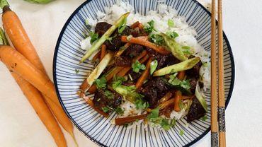 Dans votre assiette ce soir: proc sauté au caramel, riz et légumes de saison