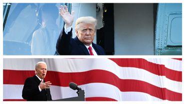 Donald Trump, le 20 janvier 2021, et Joe Biden, le 19 janvier 2021