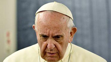 Le pape François lors d'une conférence de presse à bord de l'avion papal, le 22 janvier 2018