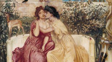 """""""Sappho and Erinna in a Garden at Mytilene"""" de Simeon Solomon"""