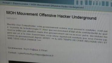 La page d'accueil du site du gouvernement wallon piratée