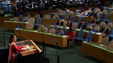 La dirigeante birmane Aung San Suu Kyi le 21 septembre 2016 à New York devant l'Assemblée générale de l'ONU