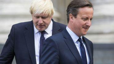 Le Premier ministre britannique David Cameron (d), qui avait provoqué le référendum sur le Brexit en 2016, et Boris Johnson (g), maire de Londres, le 7 juillet 2015