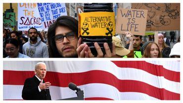 Joe Biden le 19 janvier 2021 et manifestant contre le projet Keystone, en 2017