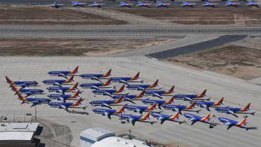 Des Boeing 737 MAX stationnés sur un aéroport en Californie