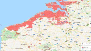 Capture d'écran de la carte du site Climatecentral.org, qui permet de visualiser les zones à risque selon les différents modèles: le Nord du pays serait particulièrement touché...