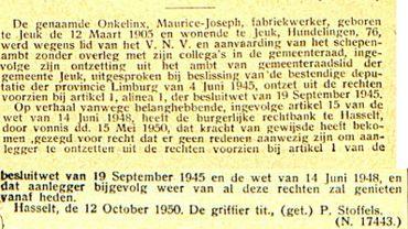 Le grand-père de Laurette Onkelinx privé de ses droits civiques après-guerre