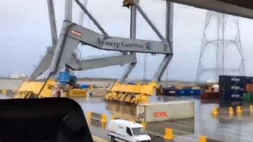 Une grue de 130 mètre s'effondre après avoir été percutée par un navire.