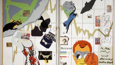 """""""Convergence"""", d'Hervé Télémque, 1966, Acrylique, papiers collés et objets sur toiles ; corde à sauter 198 x 273 cm, Saint-Etienne, Musée d'art moderne et contemporain de Saint-Etienne Métropole"""