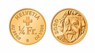 Pièce de 25 centimes de franc suisse, ornée du visage d'Albert Einstein