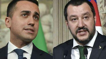 Le dirigeant du Mouvement Cinq Etoiles (MS5) Luigi Di Maio (g), le 7 mai 2018, et celui de la Ligue, Matteo Salvini, le 12 avril 2018