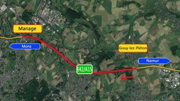 Suite des travaux sur la E42 vers Mons
